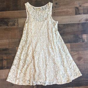 Free People Miles of Lace Sleeveless Dress Ivory M